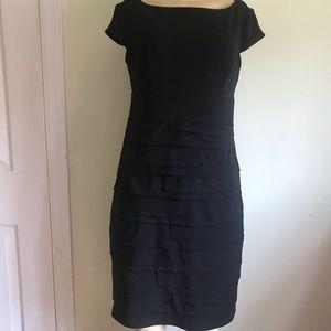 Dressbarn chic fitted , cap sleeves black dress